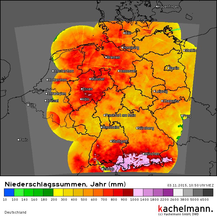 Niederschlagssummenkarte 2015 von kachelmannwetter.com