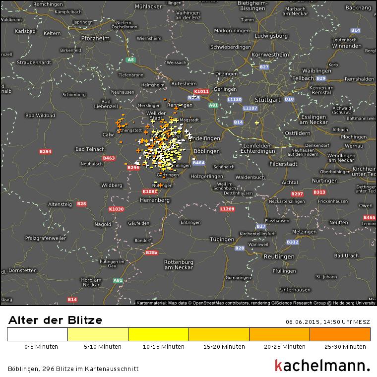 Blitze zwischen Calw und Sindelfingen, immer wieder das gleiche Gebiet, keine Verlagerung