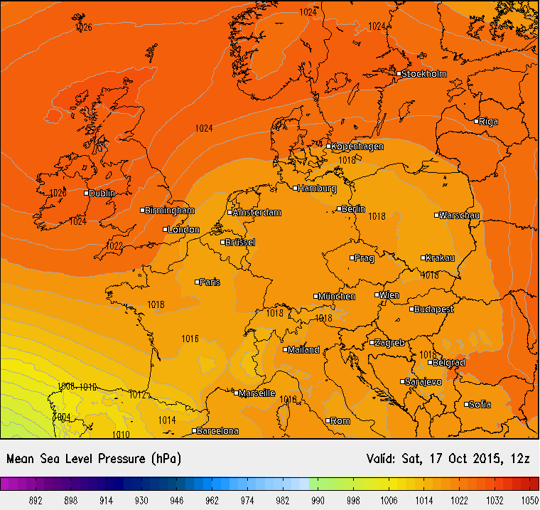 Luftdruck für Deutschland, 17.10.2015, 14 Uhr