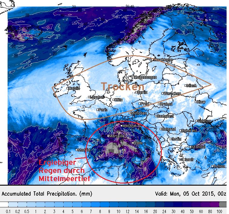 Niederschlagssumme Europa bis Montag, 05. Oktober