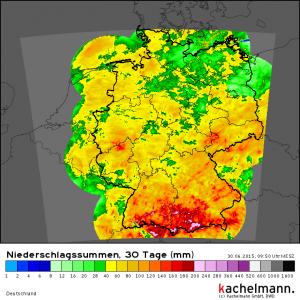 Regensummen im Juni 2015