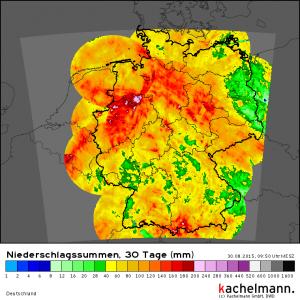 Regensummen im August 2015