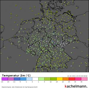 Temperaturen, Mittwoch 20 Uhr