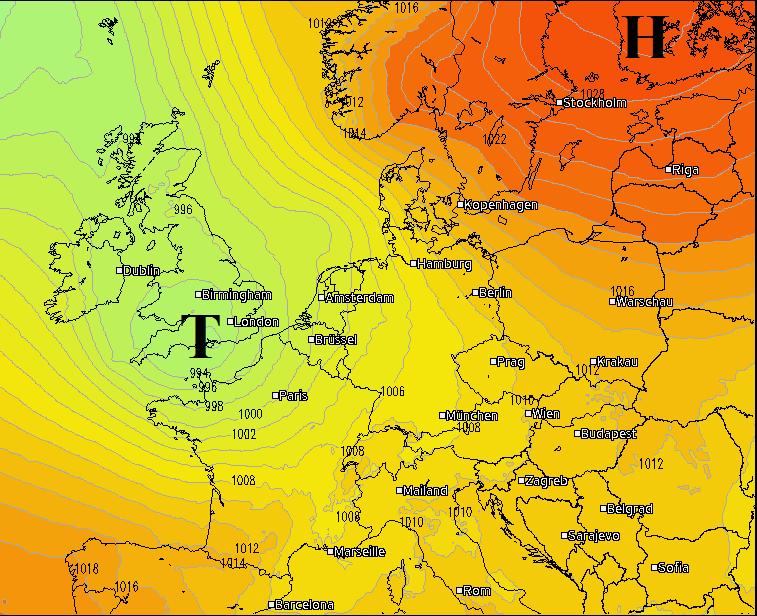 Großwetterlage Europa am Dienstag