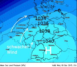Hochdruckgebiet über Süddeutschland
